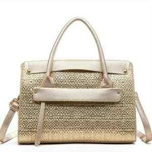 ‼️SALE‼️Albany Weave Front Pocket Tote in Gold